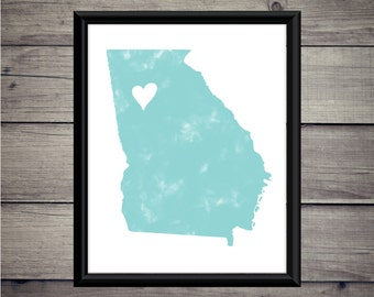 Georgia - Heart -Georgia Print - Instant Download - Digital Art - Digital Printable - City Art -State Print - Atlanta, GA - Atlanta Art -