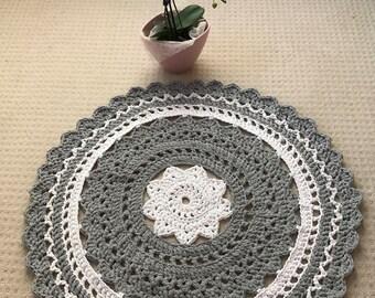 Crochet rug/ round rug/ Gray and White rug/ Doily rug/ Handmade rug