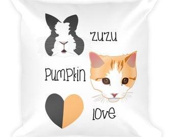 ZuzuPumpkinLove Pillow - Bunny Pillow - Rabbit Pillow - Cat pillow - Kitten Pillow
