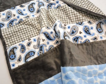 Blue Paisley Baby Quilt Shannon Fabric Soft and Cuddly Baby Boy Quilt Blue Gray and White