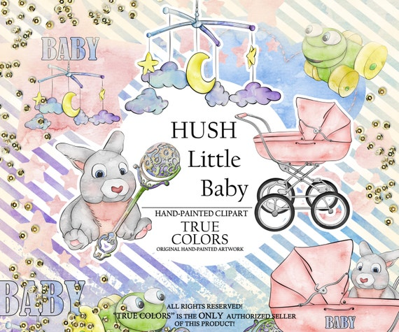 Hush Little Baby Clip Art Fashion Illustration Planner Stickers Supplies Watercolor Bunny Stroler Frog Toy Rattle Pink Blue Moon Sticker DIY
