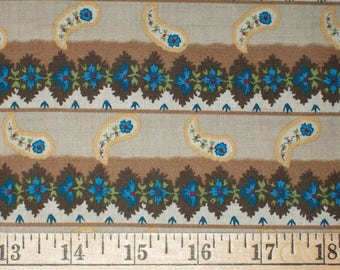 Dargate Prussian Blue Floral Stripe Quilt Fabric By the Yard