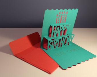 Paper Cut Pop Up Birthday Card