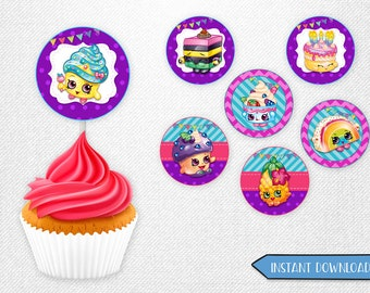 Shopkins cupcake toppers, Shopkins toppers, Shopkins cupcake, Shopkins food decorations!