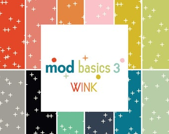 Mod Basics 3 Wink, Fat Quarter Collection, Birch Fabrics, Organic, Quilting cotton, 12 Fabrics