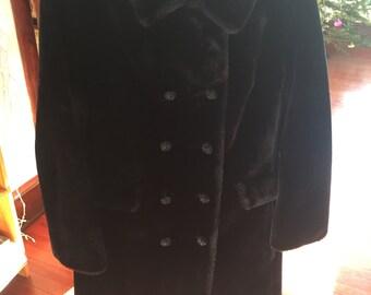 Vintage Borgazia Faux Fur Coat Black