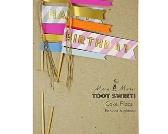 Happy Birthday Cake Topper for Party Celebration Pink Orange Pastel Blue Stripes Gold Tassel 2 Flag Set of Toppers