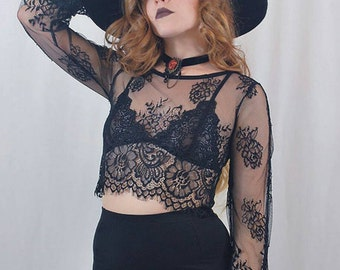 Bell Sleeve Lace Crop Top