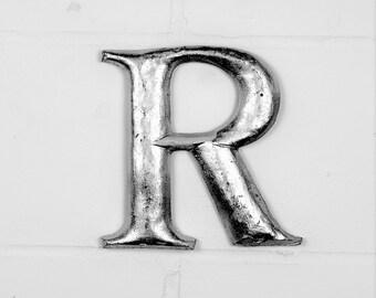 Letter R - Vintage Style - Alphabet Letter - Wall Letter - Sign - Silver