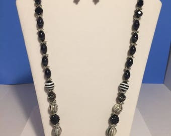 Classy Black Beaded Necklace and Earrings Set