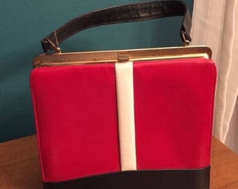 "vintage purse ""Jackie O"" style Navy/Red"