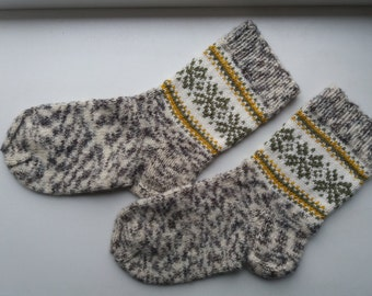 Hand made knitted socks, women, 38-40 size, wool, acrylic, mohair, warm and soft