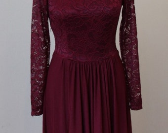 Short burgundy lace dress Short bridesmaid dress Short burgundy bridesmaid dress Marsala  dress