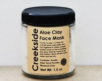 Aloe & Clay Face Mask, Organic Facial Mask, Natural Skin Care, Spa Clay Mask, Organic Face Mask, Natural Face Mask, Rhassoul Clay Mask