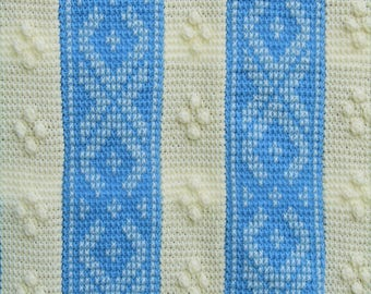 Light Blue and Cream Embroidered Afghan Stitch Throw-Size Blanket