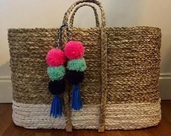 Bohemian Pom Pom Tassel Accessories, Purse Pom Pom, Basket Pom Pom