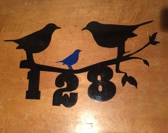 Bird Family and House Numbers Metal Art