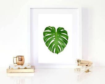 Green single cheese leaf print