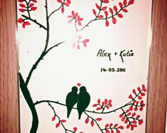 Personalised Glass Love Bird Painting Frame