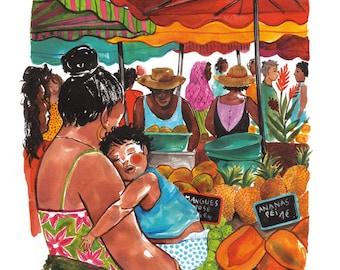 Réunion market, A4 poster