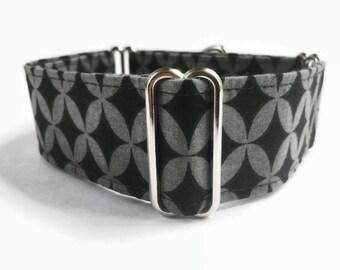 Martingale Dog Collar Black Geo // Dog Lover Gift // Dog Accessories // Greyhound Collar // Sighthound Collar