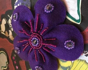 Beautiful beaded purple felt flower brooch