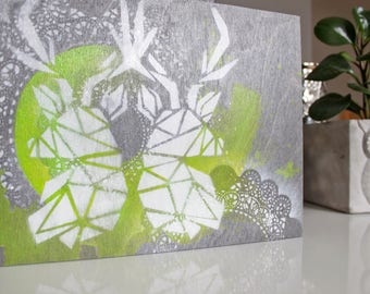 Geometric deer on wood panel. 9 x 12 in dyeing. Acrylic. Lime green. Deer. Lace.