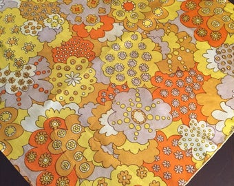 Funky 1970's Orange and Yellow Flower Scarf