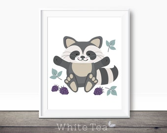 Raccoon, nursery print, baby wall art, kids room, kids decor, woodland animals, printable wall art, nursery decor