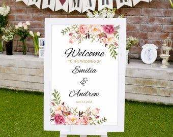 Wedding Welcome Sign Template, Printable Wedding Reception Sign, #A008, INSTANT DOWNLOAD with EDITABLE text - you personalize at home