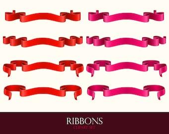 Ribbon clipart. Ribbon banners. Ribbon clip art. Vector graphic.