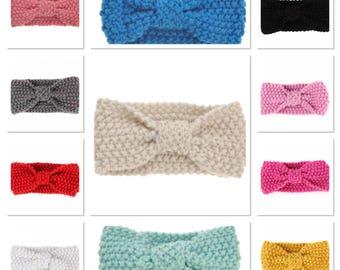 knitted baby headband, crochet baby headband, baby girls headband, knot headband, turban headband, yellow headband, grey headband, pink head