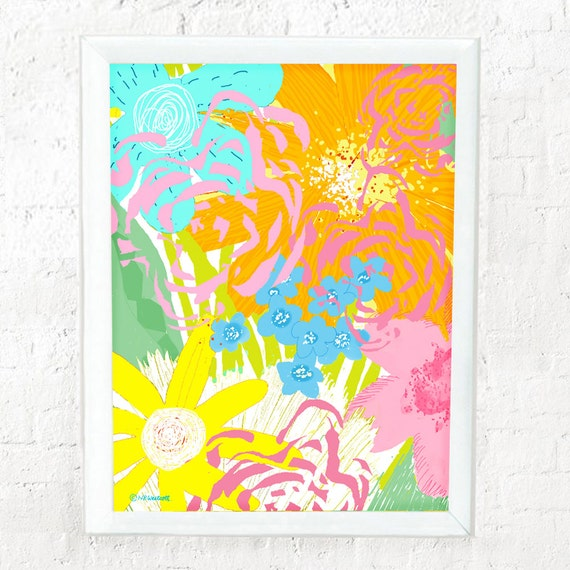 Abstract floral print for girl's room wall, nursery wall art, girl's wall decor, wall art for girls, pastel flowers, girl's floral print