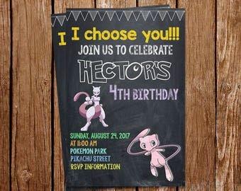 Mew and Mewtwo invitation, Mew and Mewtwo Birthday Party Invitations, Pokemon GO Invitation, PDF, Printed Invitations, Printable Invitation