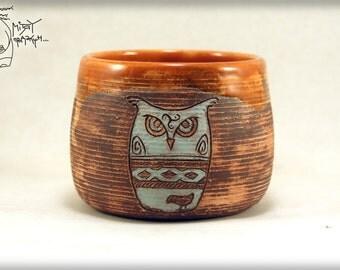 Ceramic mug with OWL, Gift Pottery teacup, Ceramic handmade cup, orange ceramics, Coffeecup with owl