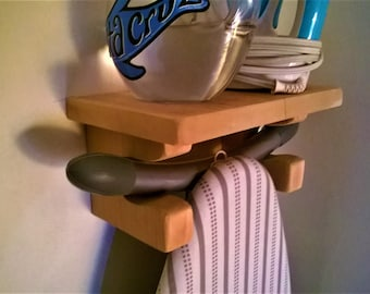 Ironing Board Holder and Shelf - Iron Shirts Wall Mount Laundry Caddy Organizer