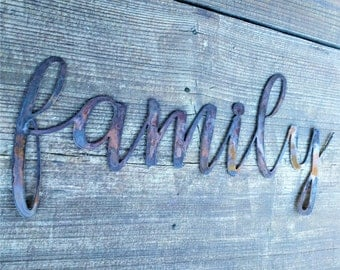 Family Signs, Farmhouse Wall Decor, Metal Words, Rustic Wall Decor, Home Decor, Family Wall Signs, Farmhouse Sign, Gifts under 20,