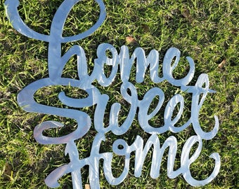 Home Sweet Home Sign, Farmhouse Decor, Shabby Chic, Rustic Sign, Wall Hanging, Home Decor, Kitchen Sign, Farmhouse Sign, Metal Word, Home