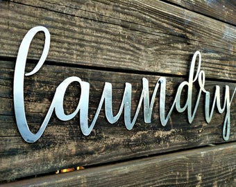 Laundry Sign, Laundry Room Decor, Laundry Sign, Farmhouse Sign, Shabby chic, metal words, wooden words, wall words, farmhouse Decor, Metal