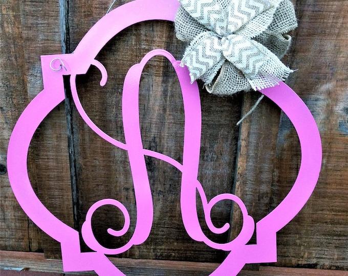 Monogram Front Door Wreath, Letter Door Hanger, Wall Hanging, Metal Letter, Nursery, Wedding Guest Book, gift for her, gift for the couple