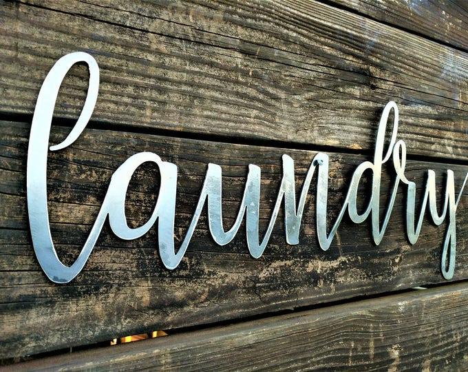 Laundry Sign, Laundry Room Decor, Laundry Sign, Farmhouse Sign, Shabby chic, metal words, Laundry word, wall words, farmhouse Decor, Metal