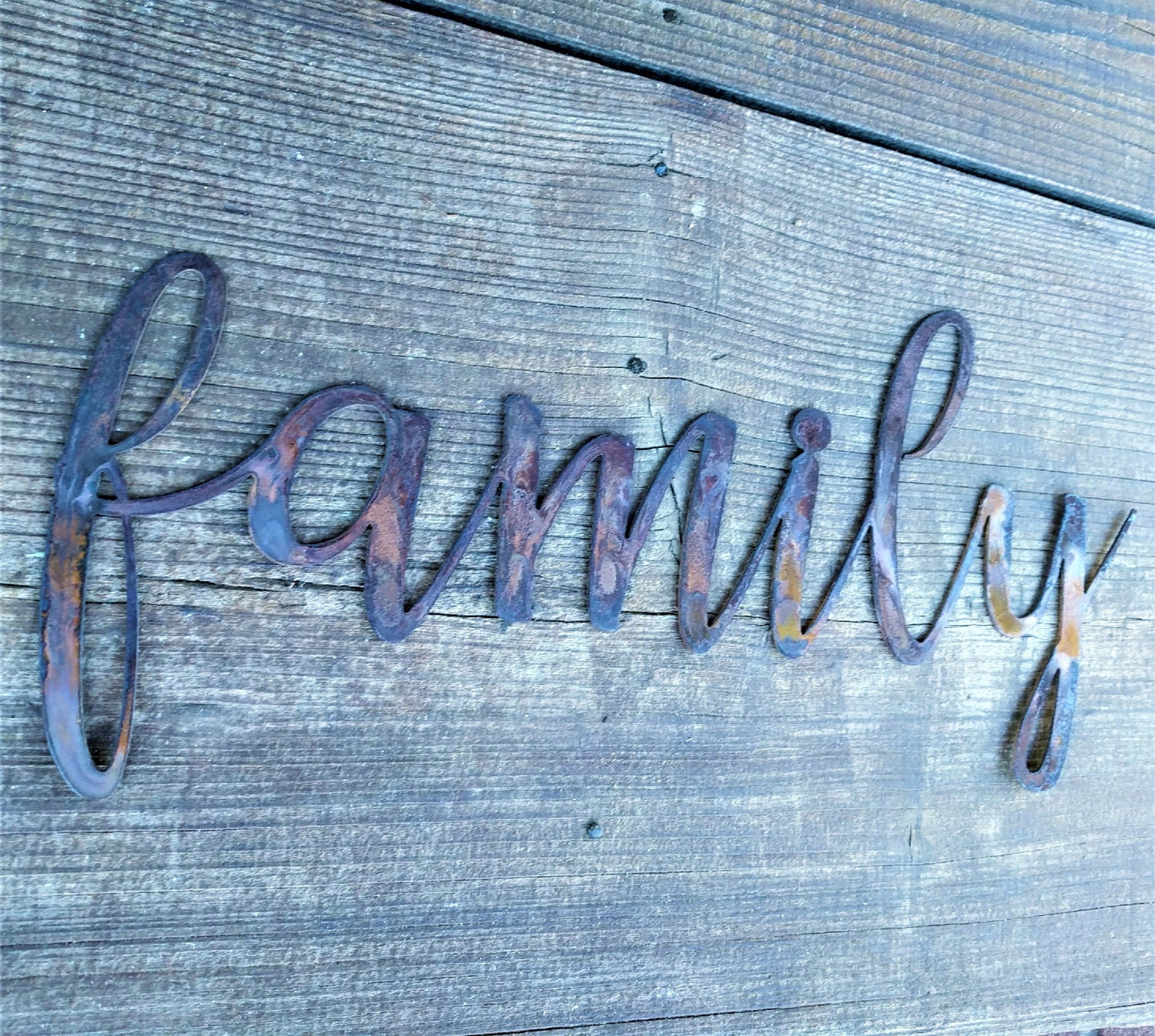 Metal Family Sign, Farmhouse Wall Decor, Metal Words, Rustic Wall ...
