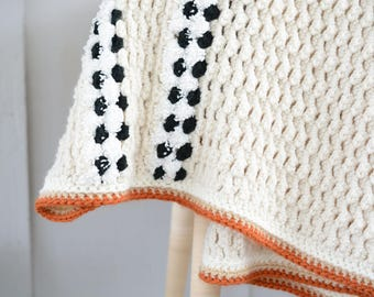 Afghan, knitted, cotton, soft, blanket, throw