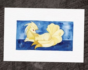 "Ninetails Watercolor Print 8""X12"" - FREE SHIPPING"