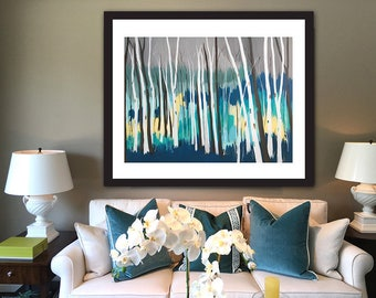 PRINT birch apsen trees abstract contemporary teal turquoise acrylic canvas painting art home interior decor Shweta Patil Free shipping USA
