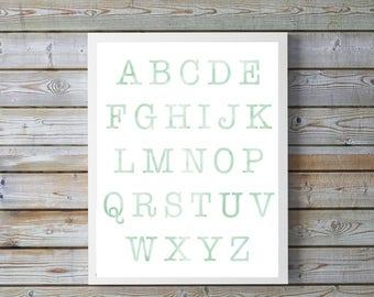 Mint, neutral, Nursery,ABC, Nursery Decor, Kids Wall Art, Nursery Print, Alphabet Poster, Watercolor, nursery, playroom, digital, bright,boy