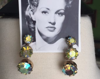 50's Aurora Borealis Rhinestone and Gold Tone Dangling Clip On Earrings VLV VIVA2017 Glamour Bombshell Pin Up