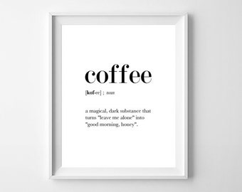Coffee Definition Poster, Coffe Definition Print, Funny Definition, Coffee Printable, Coffee Quotes, Coffee Lovers Gift, Coffee Poster, Art
