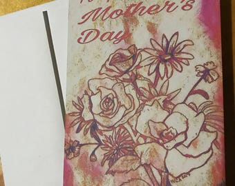 Homemade Mother's Day Card -Flower Bouquet -Pink & Orange