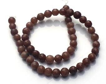 Jade brown beads - jade beads - 8mm beads - round beads - gemstone beads